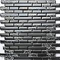 "Mosaic Town 11-Pack Thor Black Interlocking Glass Mosaic   for Kitchen Backsplash Tiles, Bathroom Tile, Pool Tile   Heat Resistant Backsplash, Waterproof   Each Glass Tile 12"" x 12"" (1 sq. ft)"
