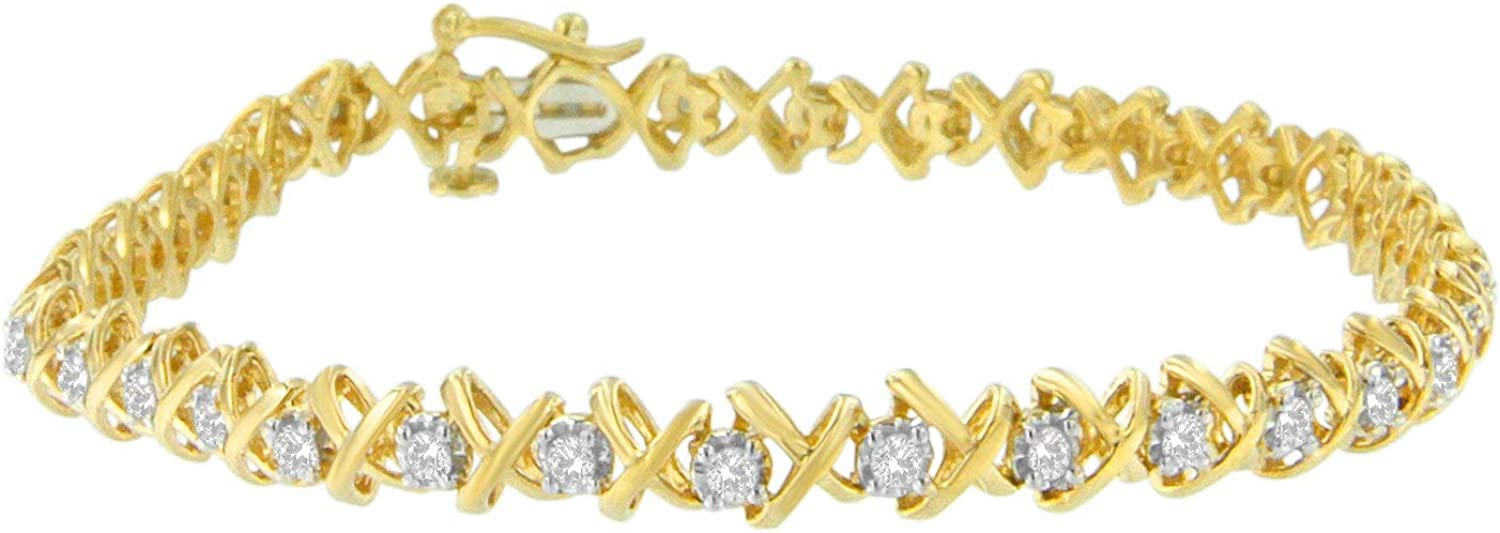10K Yellow Gold over .925 Sterling Silver 1.0 Cttw Diamond X-Lin