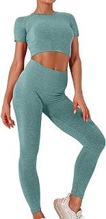 EUYZOU Womens Seamless 2 Piece Workout Sets - High Waist Workout Yoga Outfits Sports Gym Clothes