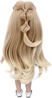 STfantasy Doll Wig for 18 Inches AG OG Doll Girls Gift Brown Ombre Blonde Long Curly Synthetic Hair
