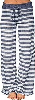 Deals Drawstring Wide Leg Pants for Women Casual Cat Prints Long Trousers