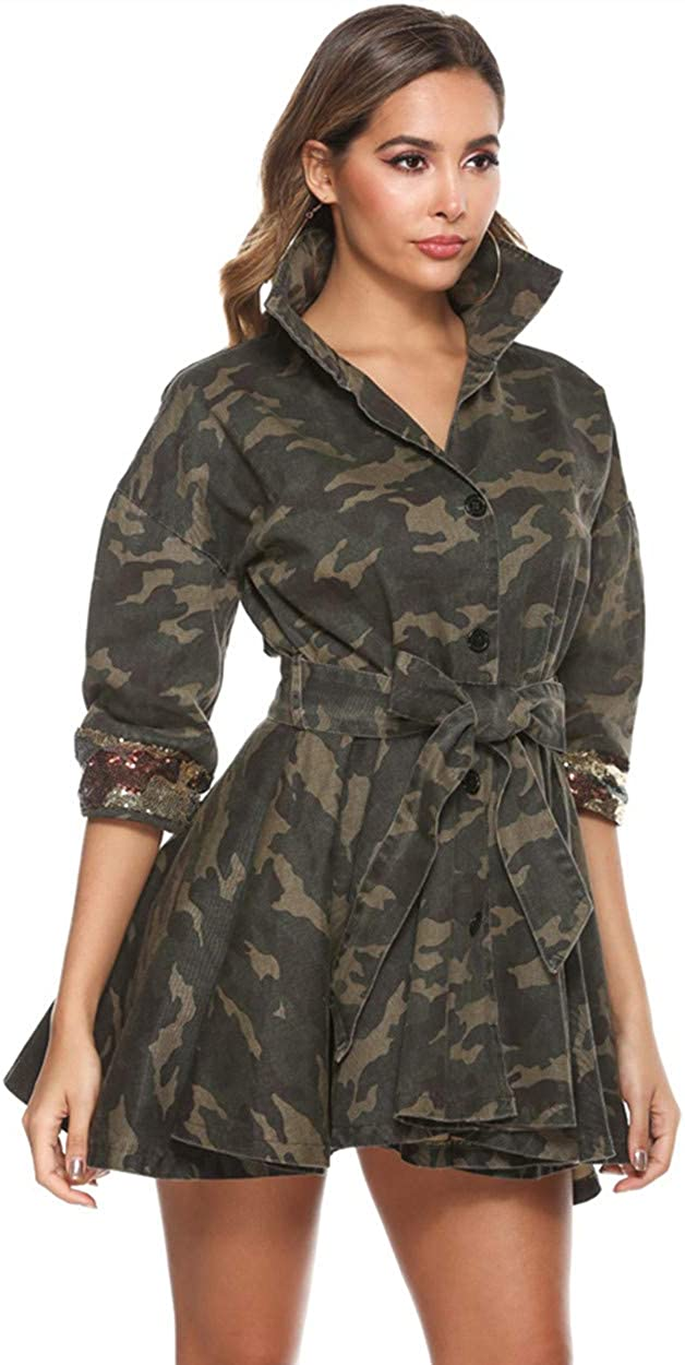 Yollmart Women's Camo Sequins Mail order Jacket Outwe Size Lightweight Plus Ranking TOP10