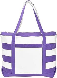 Striped Boat Bag Premium Cotton Canvas Tote in Purple