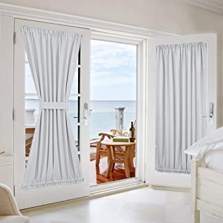 NICETOWN French Door Curtains and Draperies for Privacy - Room Darkening Patio Door Thermal Curtain Panels 54 inches Width x 72 inches Length - Platinum-Greyish White(2 Panels)