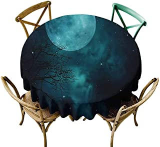 UETECH Restaurant Round Tablecloth Space,Outer World Cosmos Moon Dinning Tabletop Decoration Diameter 36