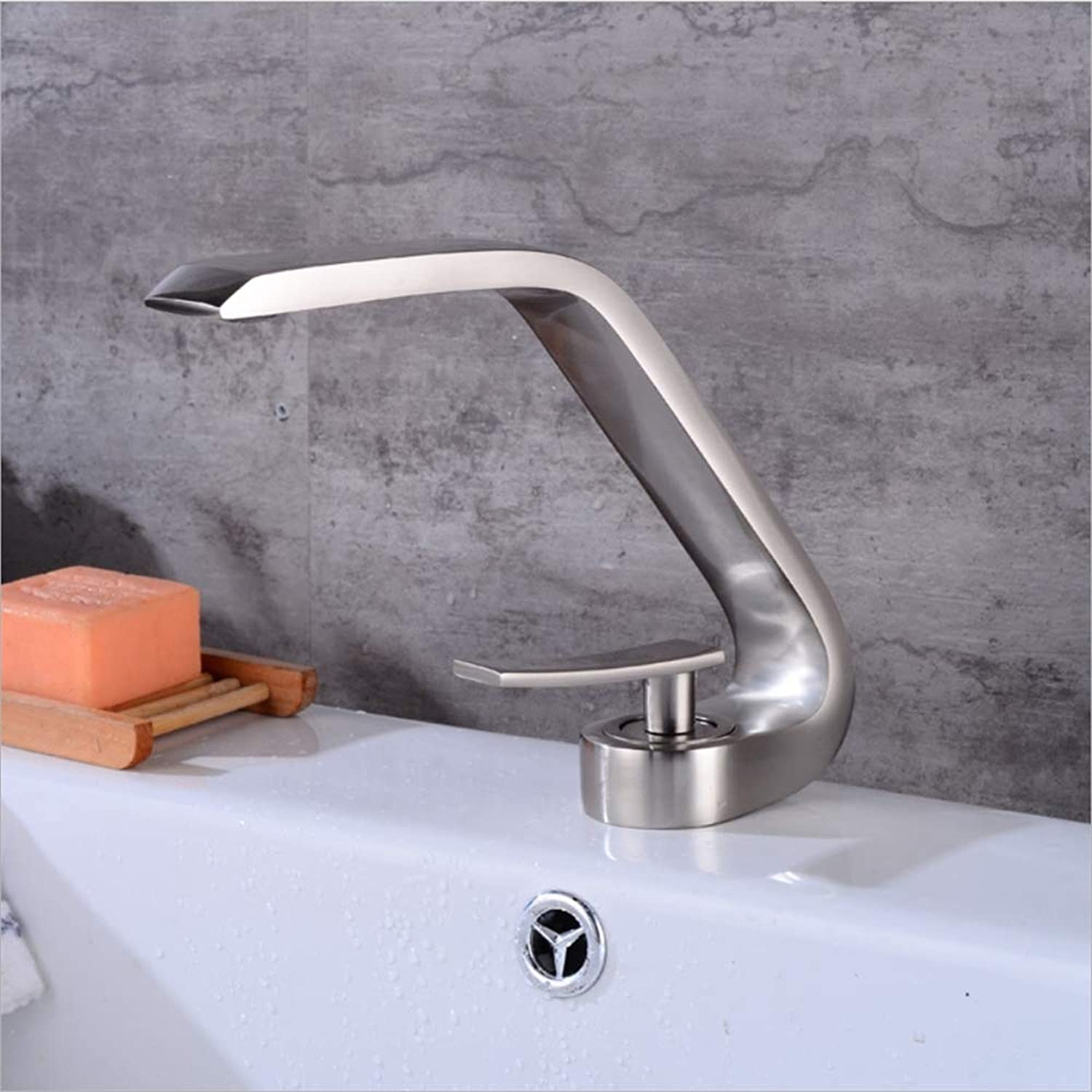 Bathroom Taps Basin Mixer Faucet, Curved Horn Shape, Brass Brushed Hot And Cold Basin Hole Mono Lavatory Tub