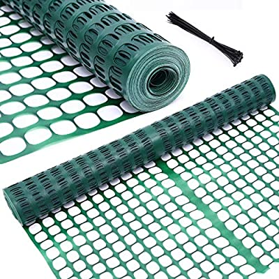 Garden Fence Animal Barrier, Ohuhu 4' x 100' Reusable Netting Plastic Safety Fence Roll, Temporary Pool Fence Snow Fence Economy Construction Fencing Poultry Fence for Deer, Rabbits, Chicken, Dogs
