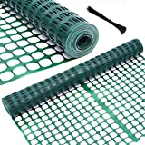 Ohuhu Garden Fence Animal Barrier, 4' x 100' Reusable Netting Plastic Safety Fence Roll,...