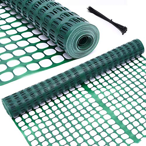 Ohuhu Garden Fence Animal Barrier, 4' x 100' Reusable Netting Plastic Safety Fence Roll, Temporary Pool Fence Snow Fence Economy Construction Fencing Poultry Fence for Deer, Rabbits, Chicken, Dogs