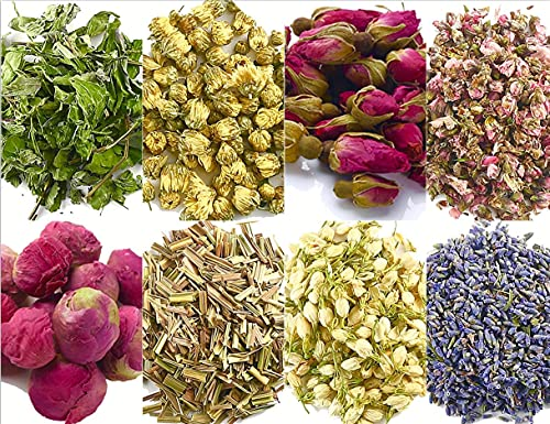 Dried Flowers and Herbs Accessories Decorations 8 Bags Set Dry Flowers Essential Supplies Rose Buds Lavender Chamomile Jasmine Scents for Flower Arrangements Crafts Bath Soap Lip Gloss Making