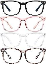 Blue Light Blocking Glasses for Women Men 4Pcs Computer Game Glasses Square Eyeglasses Frame, Anti Blue Ray Computer Glasses Non Prescription Reading Gaming Glasses