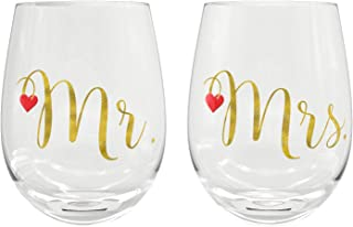 Sweetzer & Orange Mr. & Mrs. Glasses | Two Large 20oz. Wine Tumblers | Perfect Gift for Newlyweds | Great Wedding, Bridal Shower, Engagement, or Valentine's Day Present | No BPA!