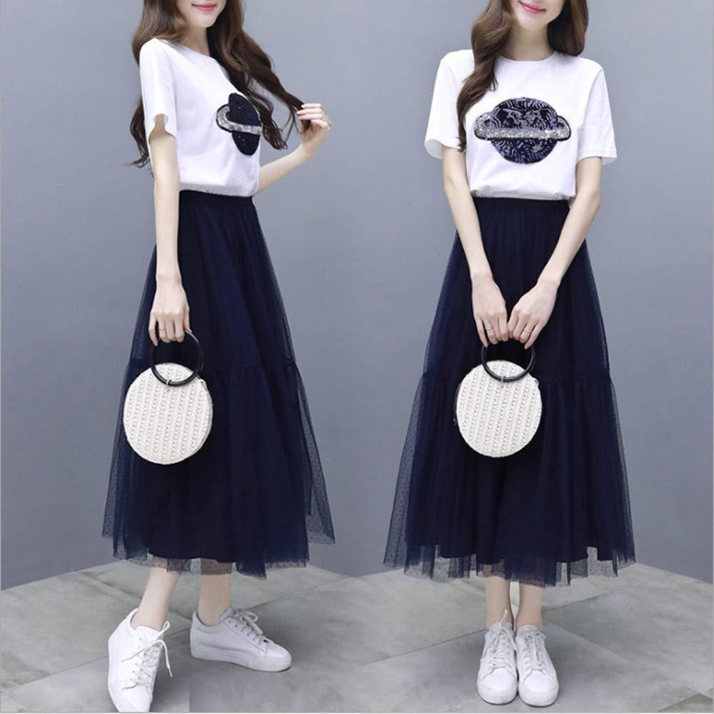 2019新款连衣裙 夏流行裙子女装新款网纱a字裙套装短袖T 两件套套装