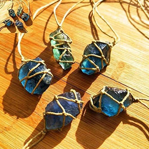 ZHAO Natürliche Quarz-Kristall-Stein-Blau/Grün Fluorit Stein Fluorit Ornament Fluorit Anhänger mit handgewebte Seil (Color : Random Color 1Pcs)