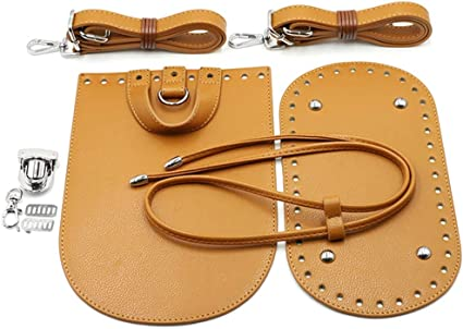 Purse Crochet Base and Flap Cover with Holes Knitting Leather Bag Supply Bag Shoulder Strap Oval Leather Bottom for Crochet Bag Making
