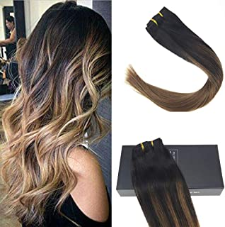 Sunny Clip in Hair Human Extensions 22inch Brown Balayage Clip in Hair Extensions Human Hair Dip Dye Natural Black and Medium Brown Clip in Extensions 7pcs 120g