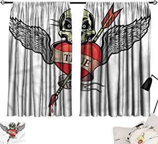 Denruny Blackout Window Curtain Tattoo,Angel Wings Skull Love 72