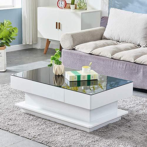 FACAZ Tavolino da caffè Lucido con cassetto portaoggetti Tavolino in Legno con Piano in Vetro per Soggiorno Design Semplice Nero