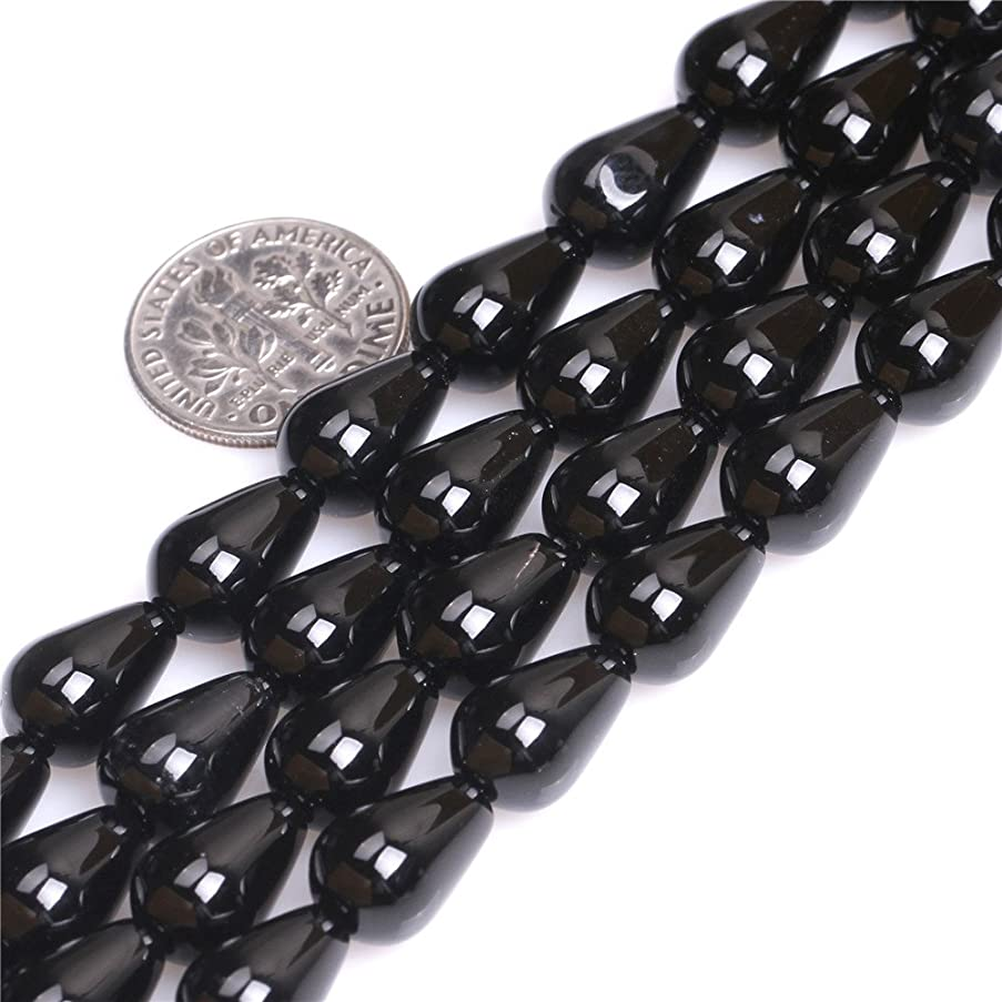 Black Agate Beads for Jewelry Making Natural Semi Precious Gemstone 8x12mm Drop Strand 15