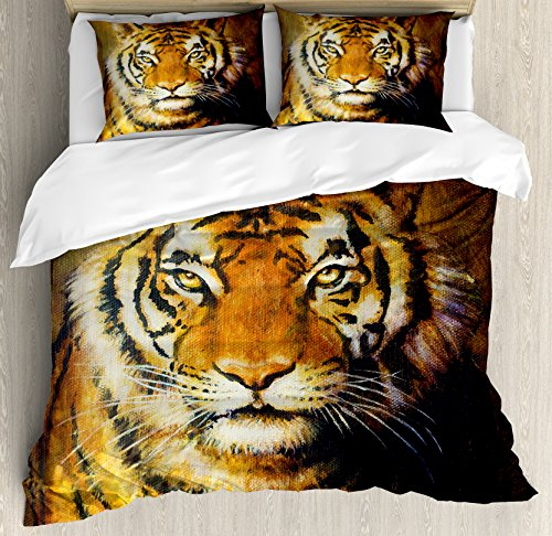 Ambesonne Tiger Duvet Cover Set, Oil Painting Style Big Cat Purposeful Eyes Carnivore Bengal Feline of East, Decorative 3 Piece Bedding Set with 2 Pillow Shams, Queen Size, Brown Black