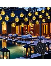 Vegena Led-lichtsnoer op zonne-energie, voor buiten, kristallen bol, 8 modi, IP65 waterdicht, voor tuin, bomen, terras, binnenplaats, feest, Kerstmis, decoratie, energieklasse A+++