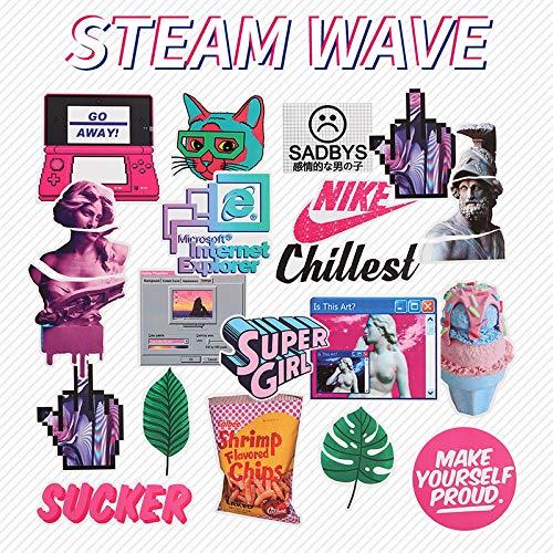 Calcomanías de impresión de ondas de vapor para equipaje con ruedas y polvo de explosión púrpura láser europeo y americano impermeables graffiti pegatinas 23 piezas