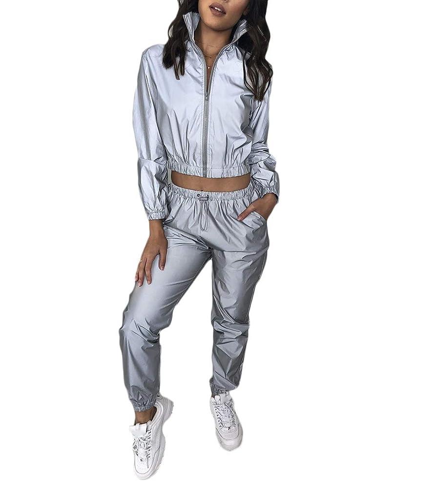 水星人気なんとなくNicellyer 女性用トラックスーツ2枚、アクティブウェア反射スウェットスーツセット