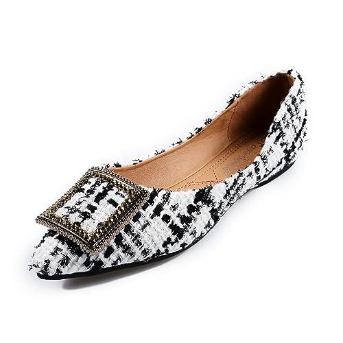 0d1bfac12539 Meeshine Womens Classic Pointy Toe Ballet Flats Slip On Plaid Dress Flat  Shoes