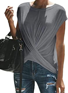 FRPE Womens Solid Slim Short-Sleeve Criss Casual Blouse Top T-Shirt