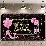 Sumind Fondo de Fiesta de Happy Birthday de Mujeres Fondo de Fotografía de Cumpleaños de Oro Rosa Dulce de Tela con Globos Tacones Rose Champagne para Mujer Cumpleaños, 72,8 x 43,3 Pulgadas
