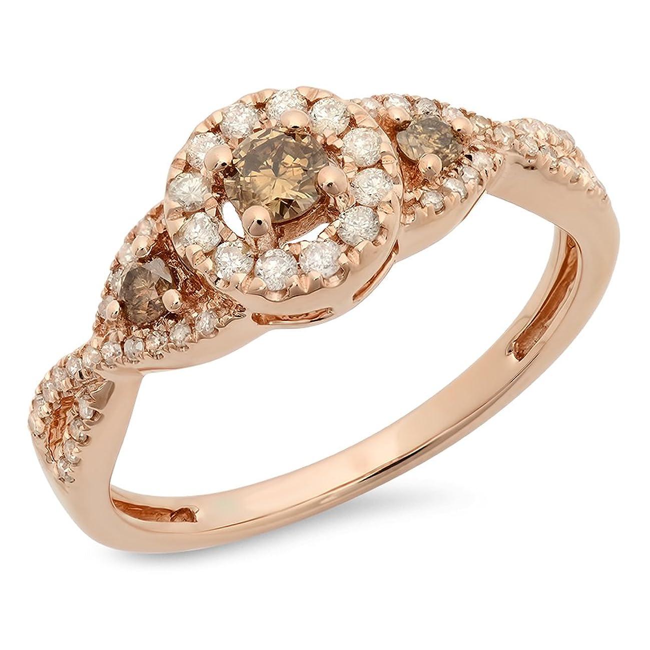 Dazzlingrock Collection 0.50 Carat (ctw) 10K Champagne & White Diamond 3 Stone Halo Bridal Engagement Ring 1/2 CT, Rose Gold