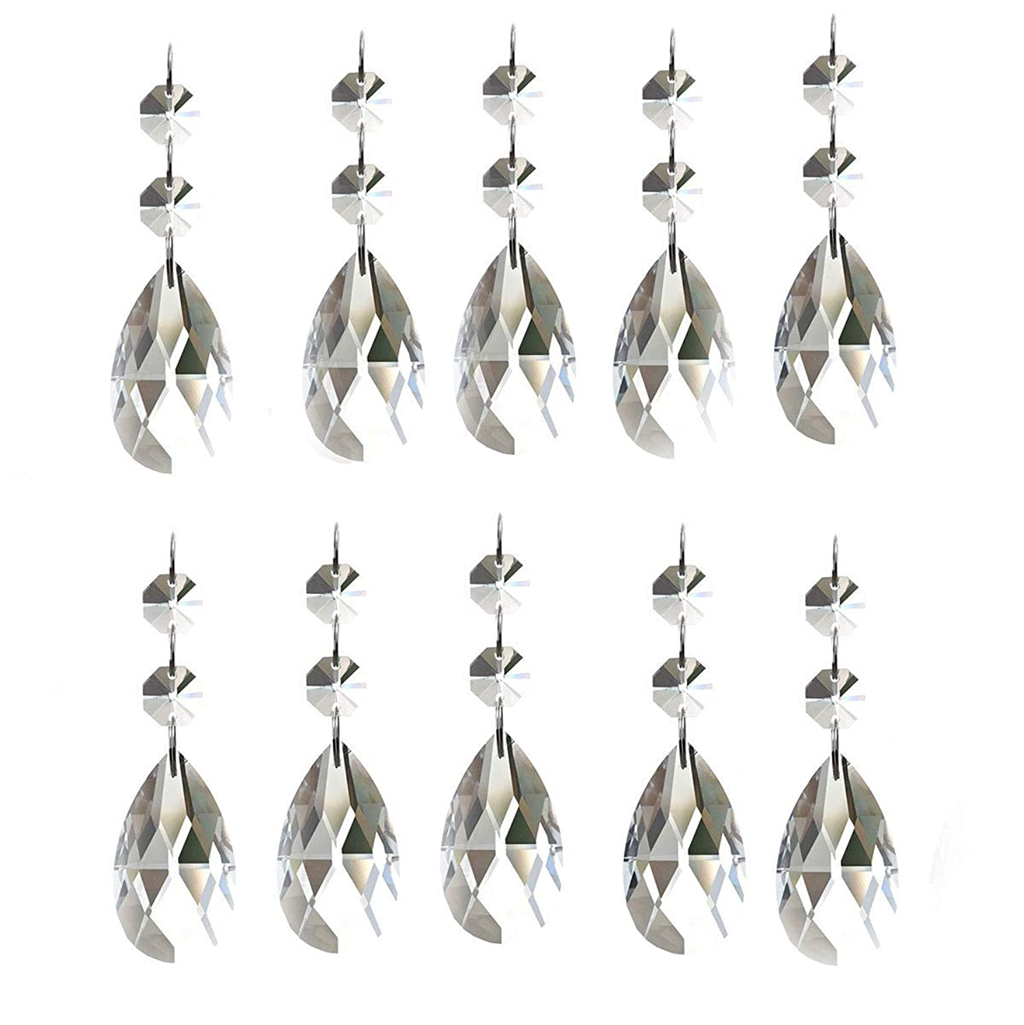 KUPOO Pack of 10 Clear Crystal Chandelier Prisms Pendants Glass Pendants Beads