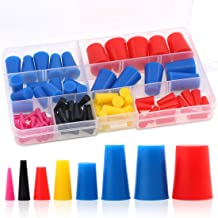 Glarks 100Pcs High Temp Silicone Rubber Tapered Plug Assortment Kit for Masking Off Holes During Powder Coating, Painting, Hydro Dipping, Media Blasting