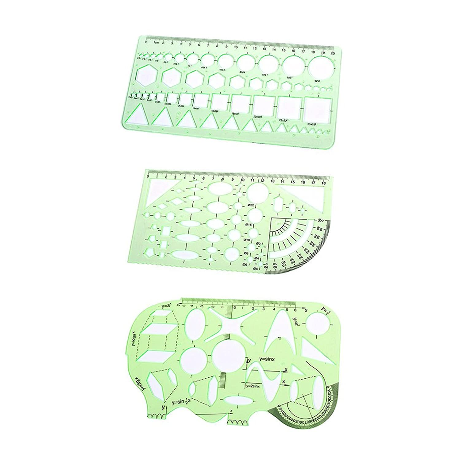 CellCase Plastic Measuring Templates Geometric Rulers for Office School (Set 1 - 3pcs Green) lmpwueszirgj