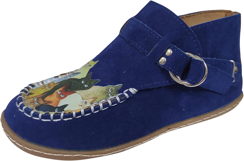 ZiSUGP Women's Flock Lightweight Flats Sneakers Walking Casual Art Painted Travel Shoes Cute Cat Animal