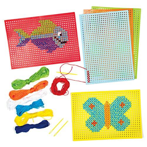 Baker Ross- Kits de Punto de Cruz (Pack de 6) -Manualidades Infantiles para Coser y...
