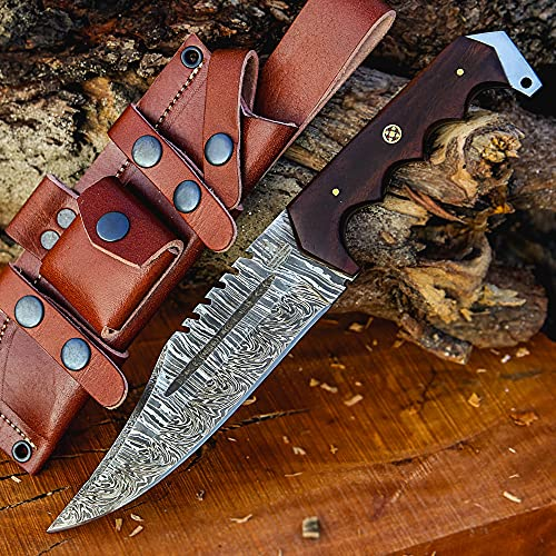 Markhor Outdoors 12-inch Handmade Damascus steel bowie knife with sheath Fixed blade hunting knife for Survival, Camping, Bushcraft Ergonomic Walnut wood handle