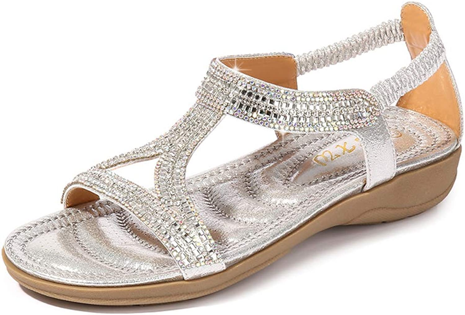 Navoku Outdoor Jeweled Beaded Sandals for Women Flat shoes