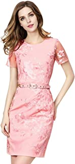 Women Floral Embroidered Sheer Short Sleeve Bodycon Dress(Pink XL)