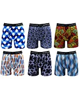 Warriors & Scholars | Mens Boxer Briefs 6 Set Multi Pack | Men's No Ride Up Underwear Boxers for Men, Youth Pack 33 W/Fly, Large