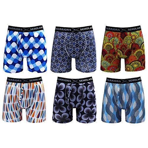 Warriors amp Scholars | Mens Boxer Briefs 6 Set Multi Pack | Men#039s No Ride Up Underwear Boxers for Men Youth Pack 33 W/Fly Small