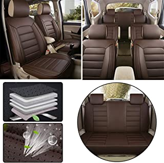 for Mitsubishi Seven-Seats Car Seat Covers Sets PU Leather Car Interior Seat Cushion Car Seat Cover Seat Back Mat Protector Coffee