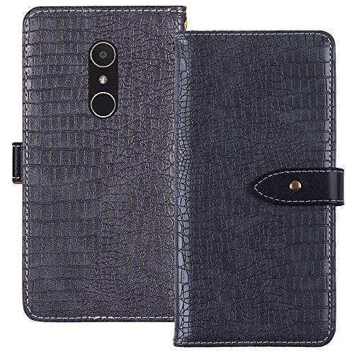 YLYH HandyHülle Für HP Elite X3 6 inch Leder Tasche Cover Flip Brief Schütz Hülle Abdeckung Case Etüi Standfunktion Grau