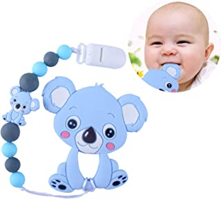 Baby Teething Toys Fruit Teethers Natural Organic Freezer Safe Beads Binky for Boy Girl fits Soothie Gift Natural Brain De...