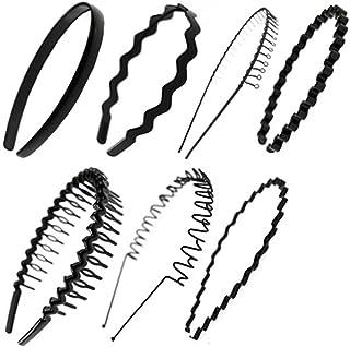 7 PCS Unisex Black Spring Metal Hoop Hair Band Girl Men`s Headband Accessory,F5