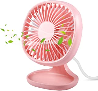 TekHome Small Table Fan for Office, Standing Fan Quiet, Mini USB Fan Pink 3 Speed, High Velocity Desk Fan for Girls, Ventilador Portatil, USB Powered, ...