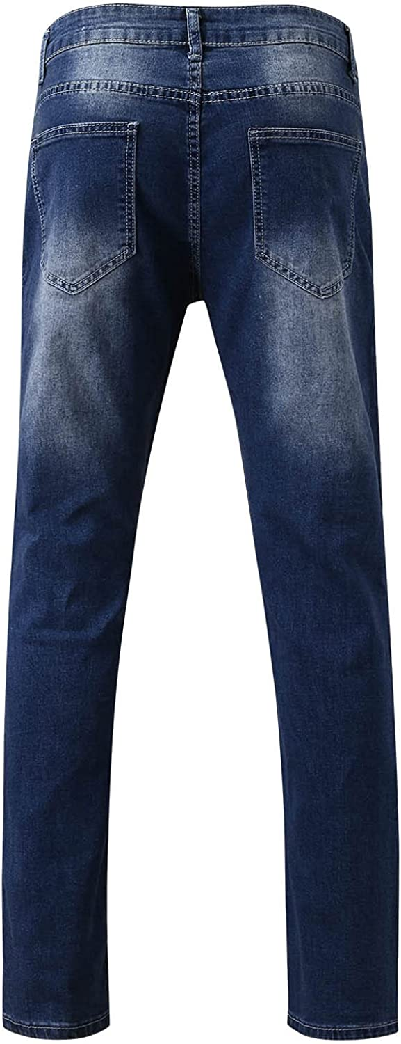 Beshion Ripped Jeans for Men,Skinny Jeans Stretch Slim Fit Distressed with Hole Splice Frayed Gradient Washed Trousers