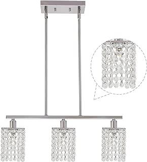 BONLICHT Small Crystal Pendant Lighting 3 Light Modern Light Fixture Hanging Pendant,Contemporary Chrome K9 Crystal Chandelier Classic Flush Mount Ceiling Lamp for Kitchen Island Foyer Dining Room