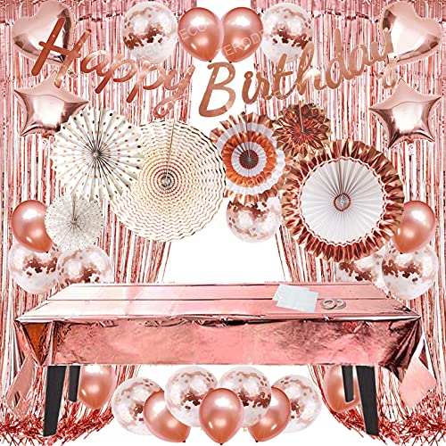 ZERODECO Rose Gold Party Decorations, Happy Birthday Banner, Tablecloths for Rectangle Table, Paper Fans, Fringe Curtains, Star Heart Foil Balloon Confetti Balloon Party Supplies for Girls and Women