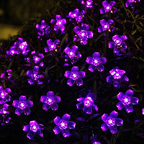 Blutty Solar Flower String Lights Outdoor Fairy 50 Led Blossom Lighting for Garden,Patio,Path,Christmas,Indoor,Party